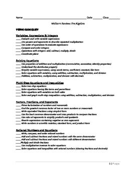 Pre Algebra Midterm Review