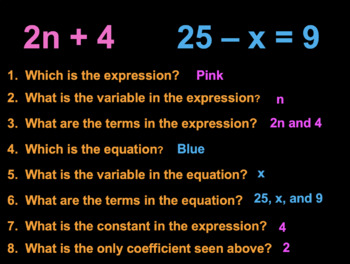 Writing Algebraic Expressions POWER POINT Notes & Practice