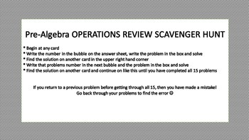 Pre-Algebra Scavenger Hunt Activity
