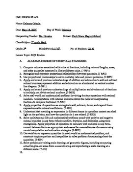 Pre-Algebra Semester 2 Review Lesson Plan