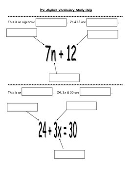 Pre-Algebra Vocabulary Practice with Mystery Flap Boxes Co