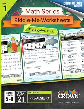 Pre-Algebra Worksheets, Integers, Variable Expressions - M