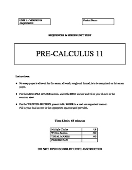 Pre-Calculus 11 BUNDLED COURSE TESTS & QUIZZES with FULL S