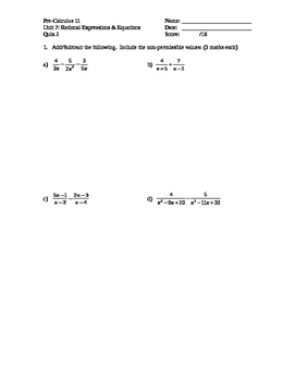 Pre-Calculus 11: Rational Expressions Quiz 2 with FULL SOLUTIONS