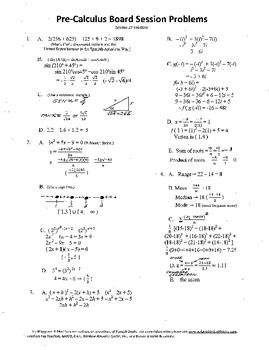 Pre-Calculus Board Session 17,ACT/ SAT Prep,statistics,adv