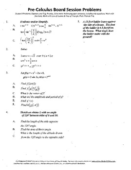 Pre-Calculus Board Session 9,ACT/ SAT Prep,functions,solve