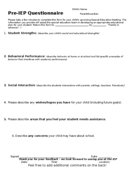 Pre-IEP Meeting Parent Feedback Form (EDITABLE)