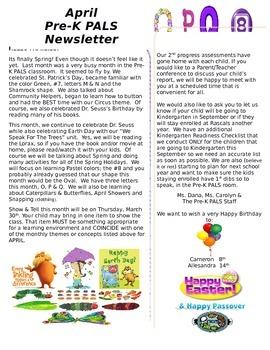 Pre-K April Newsletter