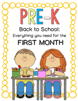 Pre-K Back to School Bundle: First MONTH of School