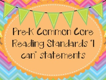 Pre-K Common Core Standards ELA I can statements learning
