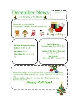 Pre K December Newsletter