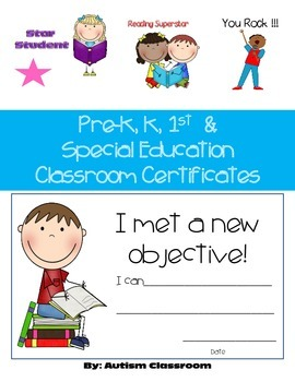 Pre-K, K, 1st  and Special Education Classroom Certificates
