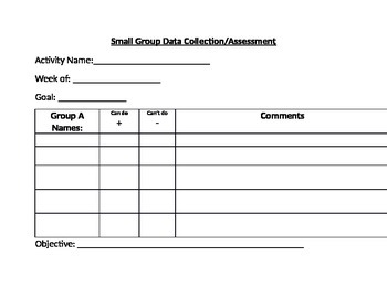 Pre-K / K Data Collection Sheet for Small Groups