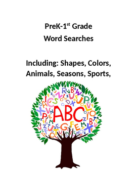 Pre K, Kindergarten, and 1st Grade Word Searches