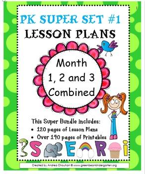 Pre-K Lesson Plans SUPER Bundle MONTH 1- 2 and 3 by GBK!!!
