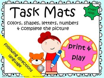 Task Mats for Preschool Skills