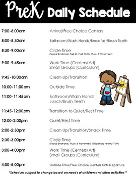 Pre-K Schedule Example