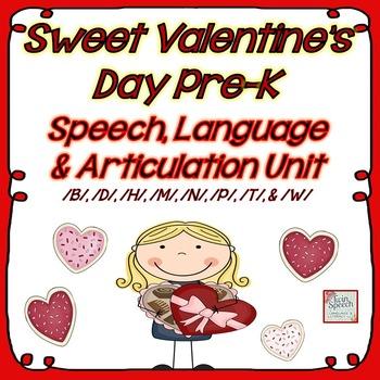 Sweet Valentine's Day Pre-K Speech, Language and Articulat