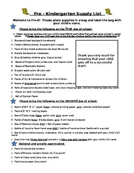 Pre K and Grade 1 School Supply Lists