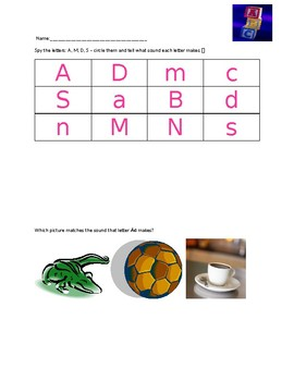 PHONICS Pre-K and Kindergarten A, M, D, S  letter sound wo
