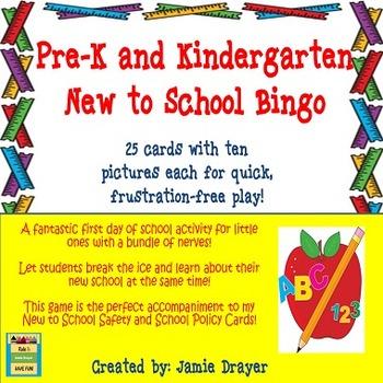 Pre-K and Kindergarten Back to School Picture Bingo Game Cards