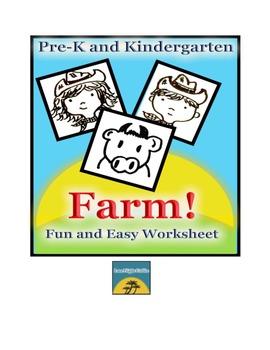 Pre-K and Kindergarten Farm Themed Worksheet