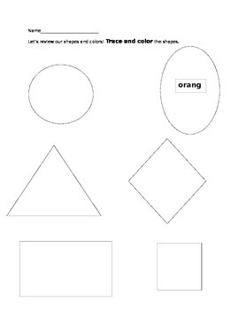 Pre-K and Kindergarten Shape and Color Worksheet