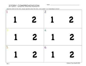 Pre-K/K Story Comprehension Activity