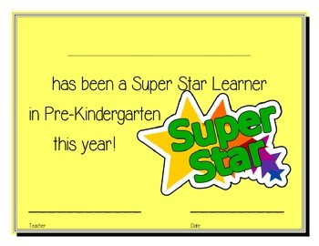 Pre-Kindergarten Super Star Learner Certificate