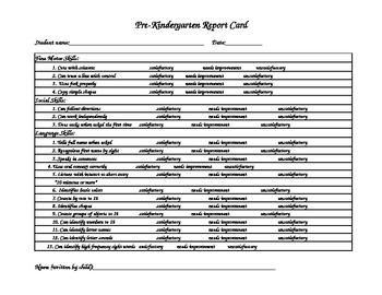 Pre-Kindergarten report/Kindergarten Readiness report