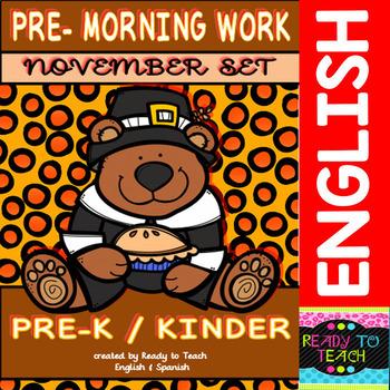 Pre - Morning Work Complete Set (Sheets for November )