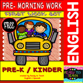 Pre - Morning Work FREEBIE (Sheets for the first week of K