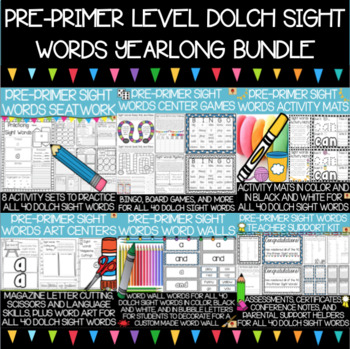 Dolch Pre-Primer Sight Words Year-Long Activity Pack