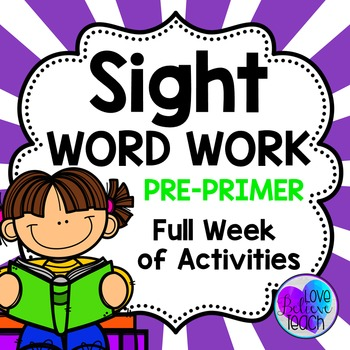 Pre-Primer Sight Word Work