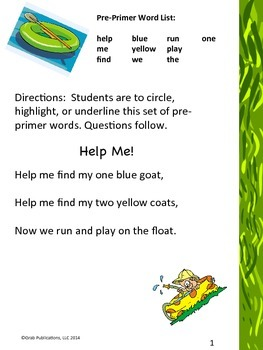 """Pre Primer Dolch Sight Word List """"Help Me"""""""