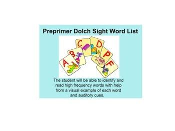 Pre Primer Dolch Sight Word List Interactive Smartboard Lesson