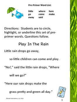 "Pre-Primer Dolch Sight Word List ""Play in the Rain"""