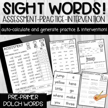 Pre-Primer Dolch Sight Word PDF Form (Automatically Counts