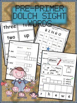 FREE FOR A LIMITED TIME Pre-Primer Dolch Sight Word Package