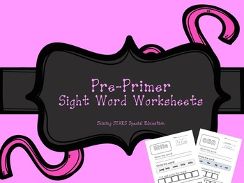 Pre Primer Dolch Sight Word Packet Worksheets