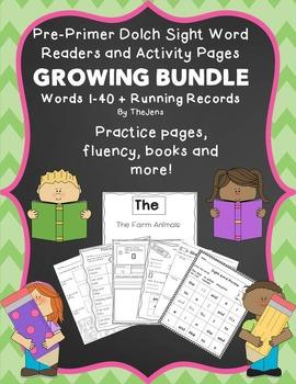 Sight Word Readers and Word Work GROWING BUNDLE Pre-Primer