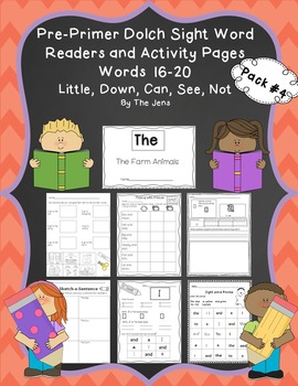 Sight Word Readers and Word Work Pre-Primer Dolch Words 16