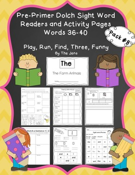 Sight Word Readers and Word Work Pre-Primer Dolch Words 36
