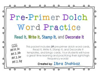 Pre-Primer Dolch Sight Words