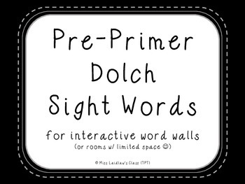 Pre-Primer Dolch Sight Words {Black} - for word walls and games