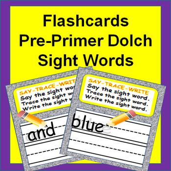 Sight Words Flash Cards - PrePrimer Dolch