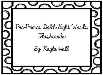 Pre-Primer Dolch Sight Words Flashcards Black and White Po