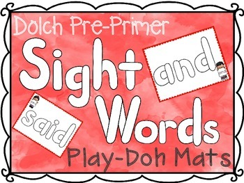 Pre-Primer Dolch Sight Words Play-Doh Mats