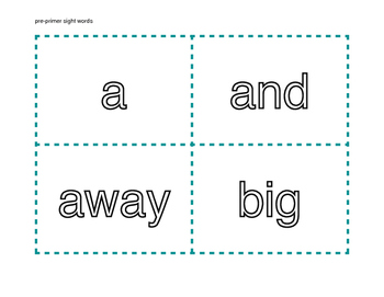 Pre-Primer Dolch Word List Flash Cards