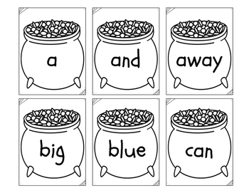 Pre-Primer Dolch Words Flashcards/Game - St. Patty's Theme